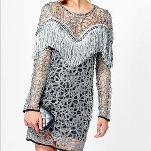Boohoo rhinestone cowgirl Ava tassel dress